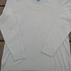 Laura Scott Cream Scoop Neck sweater w/pearl trim